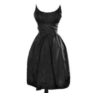 Vintage Black Moire Taffeta dress with Bow accent